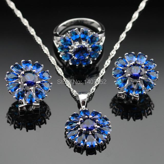 Hecho en China Color Plateado Sistemas de La Joyería Azul Zafiro Creado Pendientes/Colgante/Collar/Anillos Para Las Mujeres Del Envío Caja de regalo