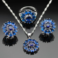 Made in China Silver Color Jewelry Sets Blue Created Sapphire Earrings/Pendant/Necklace/Rings For Women Free Gift Box