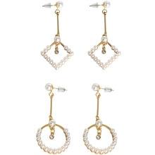 SANSUMMER Pearl Round Square Geometric Elements Popular Women Jewelry Rhine Stone Long Casual Drop Earrings 5303