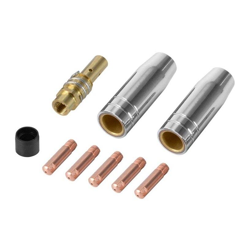 9Pcs/Set 15Ak Mig/Mag Welding Nozzle Contact Tips 0.8X25Mm M6 Gas Connector Holder Set Ad068+ CNIM Hot