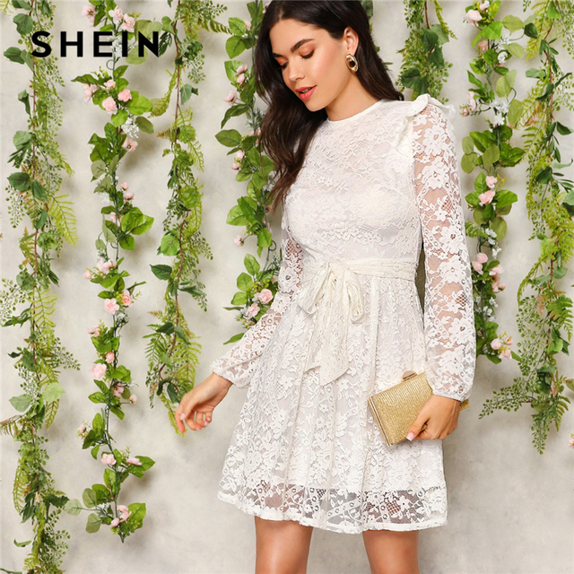 f7207f2ecd8 SHEIN White Zip Back Ruffle Shoulder Belted Short Solid Lace Dress Women  2019 Spring Fit and Flare Empire A Line Elegant Dresses