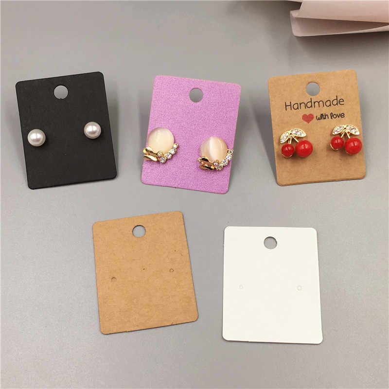 50 Pcs Retro Kraft Kertas Anting-Anting Kartu 5X4 Cm Beberapa Gaya Perhiasan Kecil Aksesori Menampilkan Kartu Kecil Anting-Anting kemasan Kartu