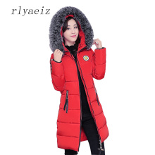 RLYAEIZ 2017 New Winter Jacket Women Smile Fur Collar Middle Long Jacket Female Cotton-padded Jackets Thicken Women Winter Coat
