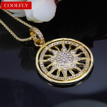 Thomas Style Gold Color Sun Pendant & Necklace Zirconia Pave 2017 New Brand Glam Jewelry For Women Ts Christmas Gifts Collier