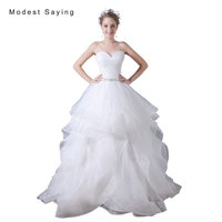 Sexy White Ball Gown Sweetheart Beaded Ruffled Wedding Dresses 2017 Formal Women Long Organza Bridal Gowns vestido de noiva A029