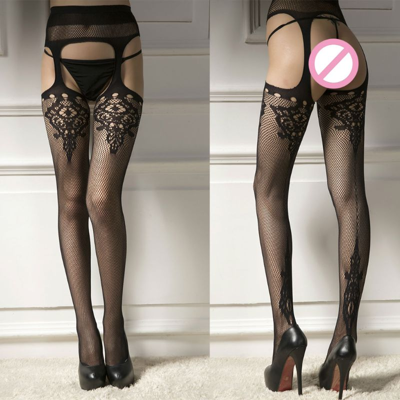 35543d4fe62 Aliexpress.com   Buy High Waist Sexy Hollow Out Open Crotch Suspender Tights  Jacquard Floral Lace Fishnet Pantyhose Sheer Mesh Garter Belt Stockings  from ...