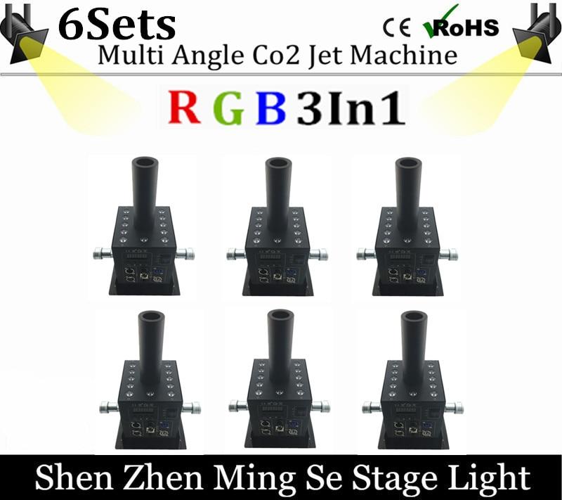 6pcs/lot 12x3w Led CO2 Jet Machine Co2 Cryo Jet Canon Stage Effect Co2 Fog Machine With Free 3M Co2 Gas Hose