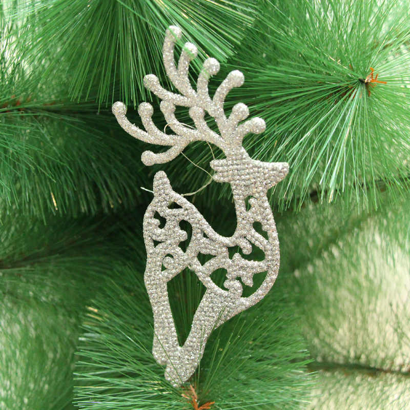 1PC Gold powder 14.5CMX6.5CM colorful Plum antlers Christmas Tree Ornaments animal X-max tree hanging decorations for party gift