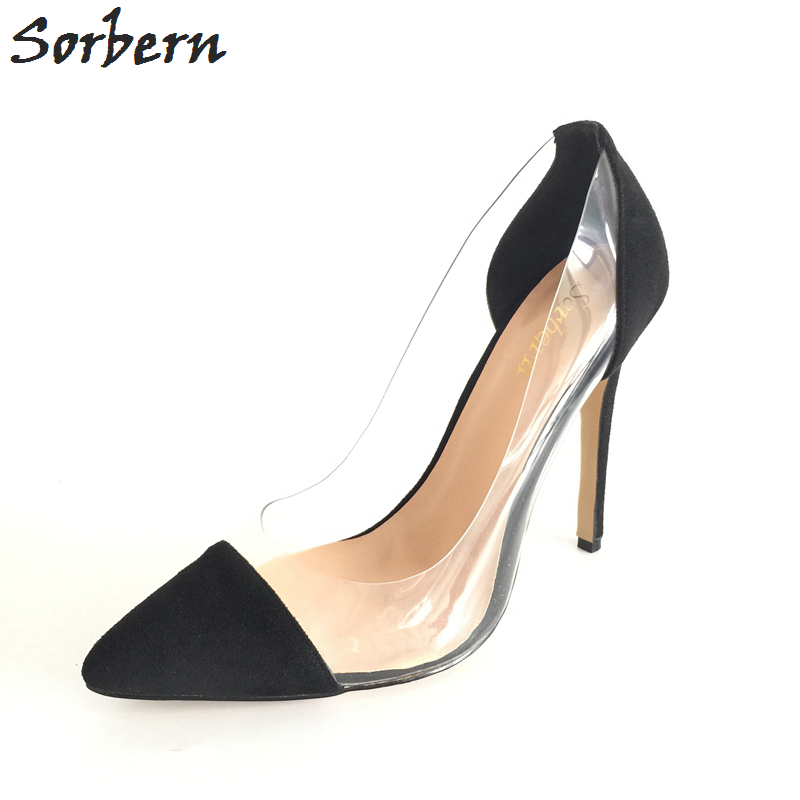 Sorbern Plus Size Women Pumps Zapatos Mujer Ladies Party Shoes Real PVC Ladies Party Pumps Custom Color Chaussure Femme Shoes цена 2017