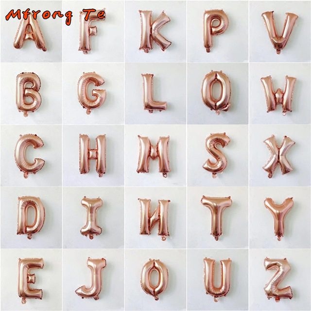 16 inch custom name A-Z Optional Letter Balloon Rose Gold Silve Gold Aluminum Foil Birthday Wedding Party Decoration suppliers