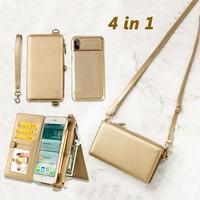 Luxury Girl Leather Case For iPhone XR XS Max X 6 7 8Plus Fashion Wallet Bag Detachable Cover Card Slot Women Shoulder Handbag