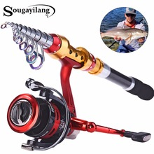 Sougayilang Super Quality 1.8m-3.6m Carbon Fiber Telescopic Fishing Rod with 14BB Spinning Reel Wheel Fishing Rods Reels Combo