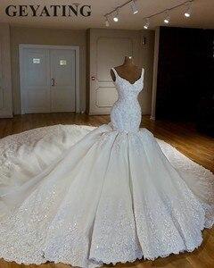 Image 2 - Luxury Chapel Train Arabic Mermaid Wedding Dresses 2020 Lace Appliques Bridal Dress Beaded Crystal Dubai Wedding Gowns Casamento