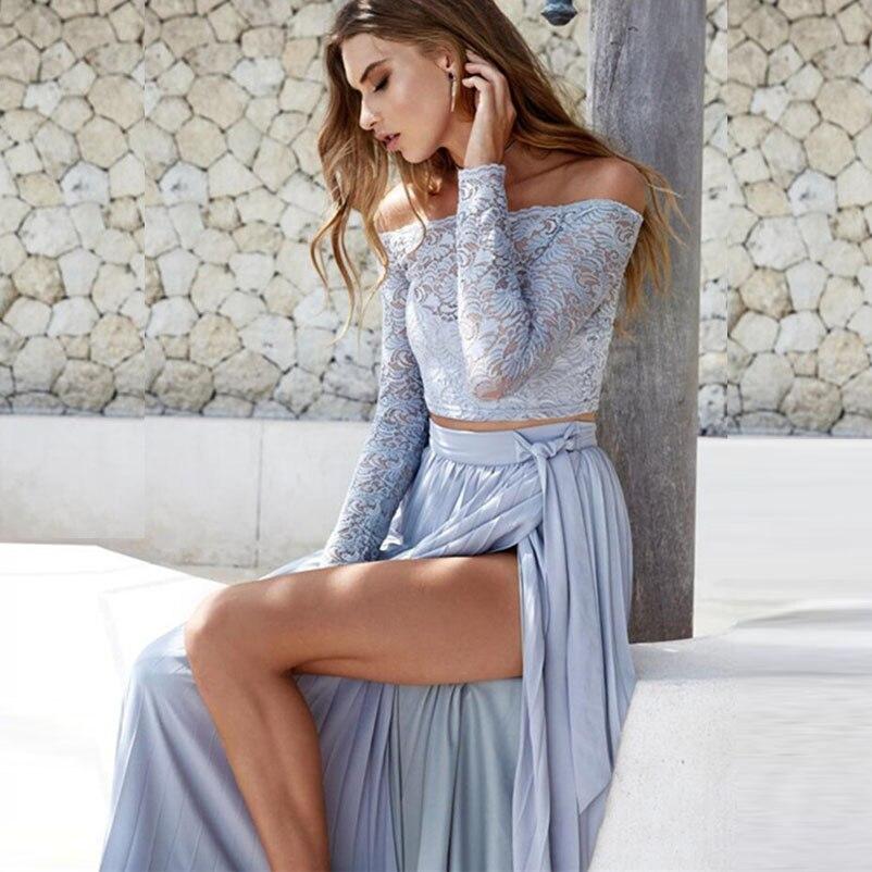 Neue Frauen Sommer Herbst Kleidung Sexy Party Slash Neck Spitze Lange Hülse 2 stücke Anzüge Mode Zwei Seiten Slit Elegante damen Sets