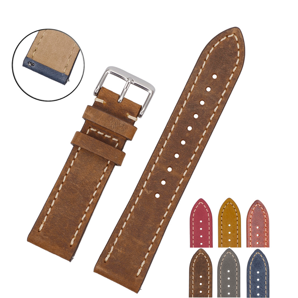 EACHE 20mm 22mm Genuine Leather Watchband light brown dark brown tan Crazy horse leather Straps Quick Release Spring bar eache 20mm 22mm genuine leather watchband with retro matte leather watch band crazy horse watch strap quick release spring bar