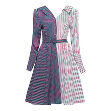 Sisjuly Women's Fall Dresses Dark Blue Striped Color Block Knee-Length Long Sleeve V-Neck A-Line Sashes Girl's Office Lady Dress