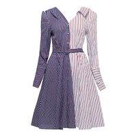 Sisjuly Women S Fall Dresses Dark Blue Striped Color Block Knee Length Long Sleeve V Neck