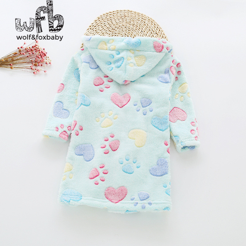 Retail 2-10 years cotton dressing gowns flannel home gown childrens home clothes line with bathrobe pajamas autumn fall winter
