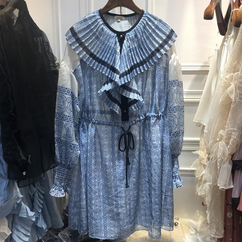 2019 printemps nouveau femmes imprimé bleu lotus feuille col à manches longues lâche robe avec bretelles