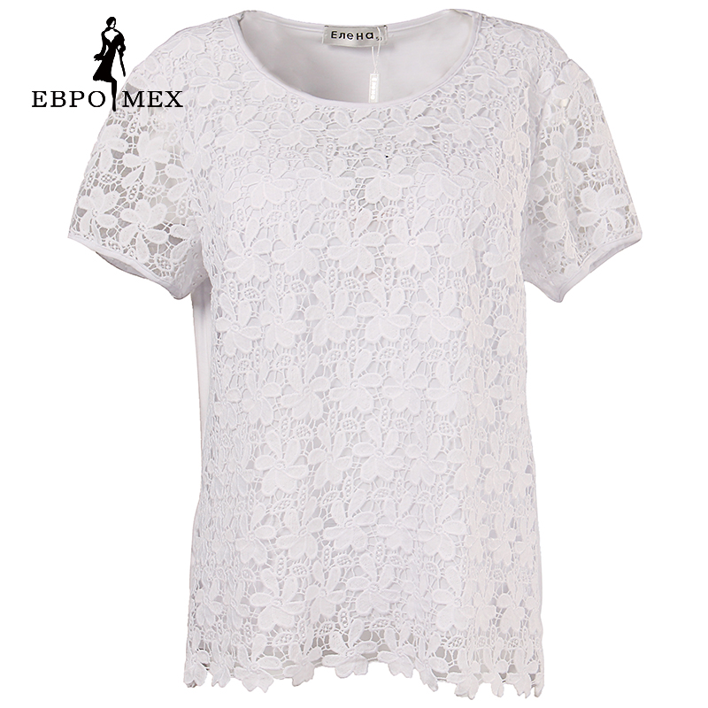 Hot SUMMER female lace fabric short sleeve t-shirt Solid CASUAL O-neck t-shirt female large size women clothing
