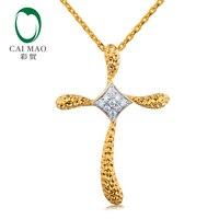 Caimao Vintage Cross Natural Full Cut Diamonds Real 14kt 585 Multi Tone Gold Pendant for Women