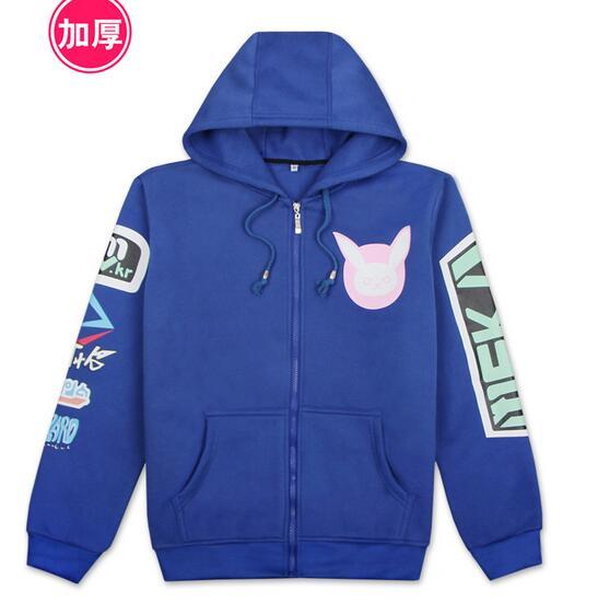 D.VA Sweatshirt Hoodie Jackets Coat DVA Cosplay Sweatshirts Casual Hooded Zipper Sweat Shirt Costumes