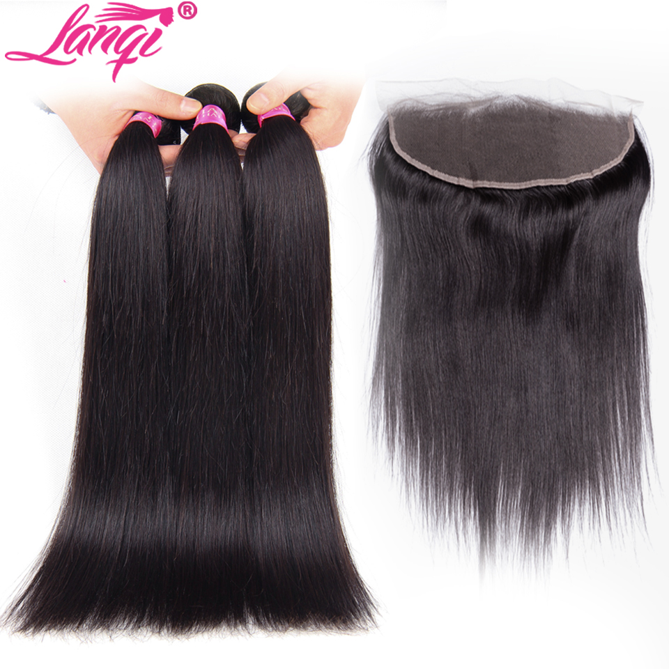 Ear To Ear Lace Frontal Closure With Bundles LanQi Non Remy Hair 3 Bundles Indian Straight Human Hair Bundles With 13x4 Closure