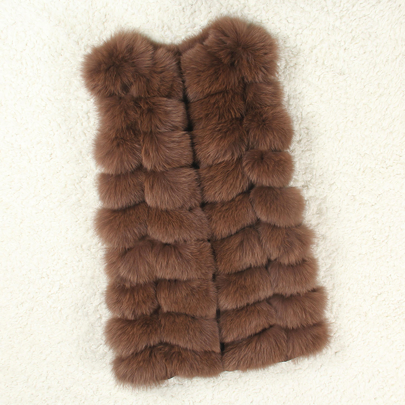Natural Real Fox Fur Vest New Winter Long Thick Women Genuine Fur Vest Jacket Pockets Real