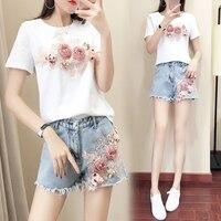2019 harajuku plus size summer women short sweet floral embroidery top t shirt + fringed denim short pant two set SE207