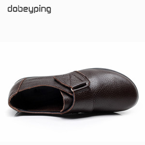 Image 4 - New Arrival Flats Shoes Woman High Quality Genuine Leather Womens Casual Shoes Buckle Mother Walking Footwear Plus Size 35 43