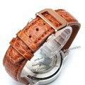 Promoção de Couro de Jacaré homens Watchband Relógio Acessórios 20mm 21mm 22mm dobrável fivela de implantação de aço de Prata Azul cintas