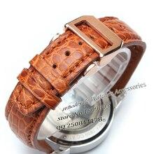 Продвижение Аллигатор Кожаный Ремешок Для Часов мужские Часы Аксессуары 20 мм 21 мм 22 мм складная стальная пряжка развертывания Серебристо-Голубой ремни