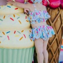 Американский купальник-бикини с оборками и русалочкой для маленьких девочек, купальный костюм, купальный костюм