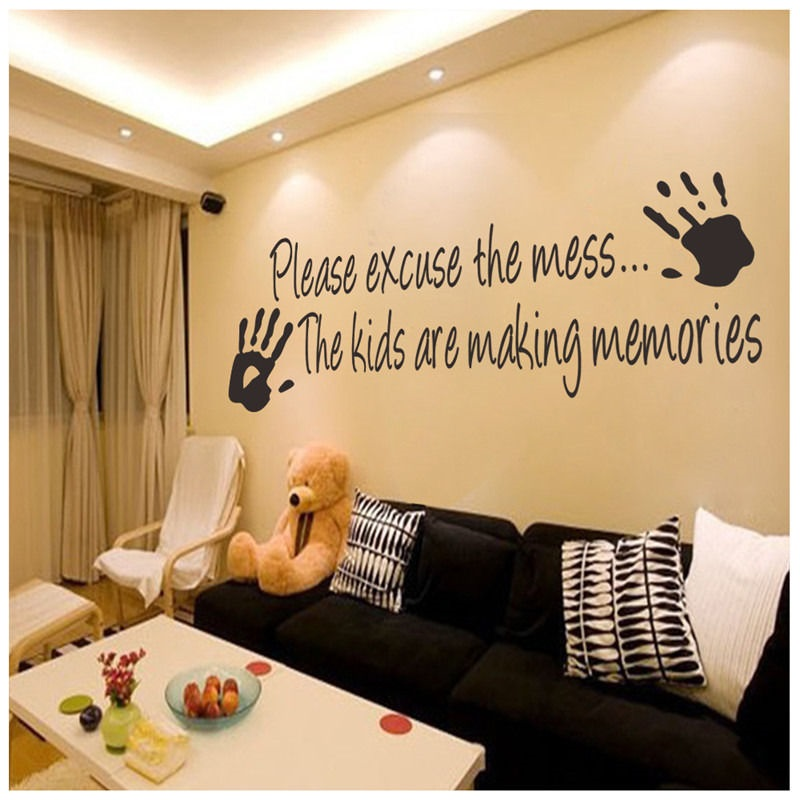 Art Posters Sitting Room Sofa Decorate Please Excuse The Mess Kids Mural  Quote Inspiration Words Decals DIY Vinyl Wall Sticker In Wall Stickers From  Home ...