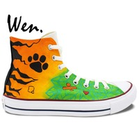 Gifts For Friend Hand Painted Art Wen Singer Edward Christopher Colourful Canvas Shoes Man Woman High