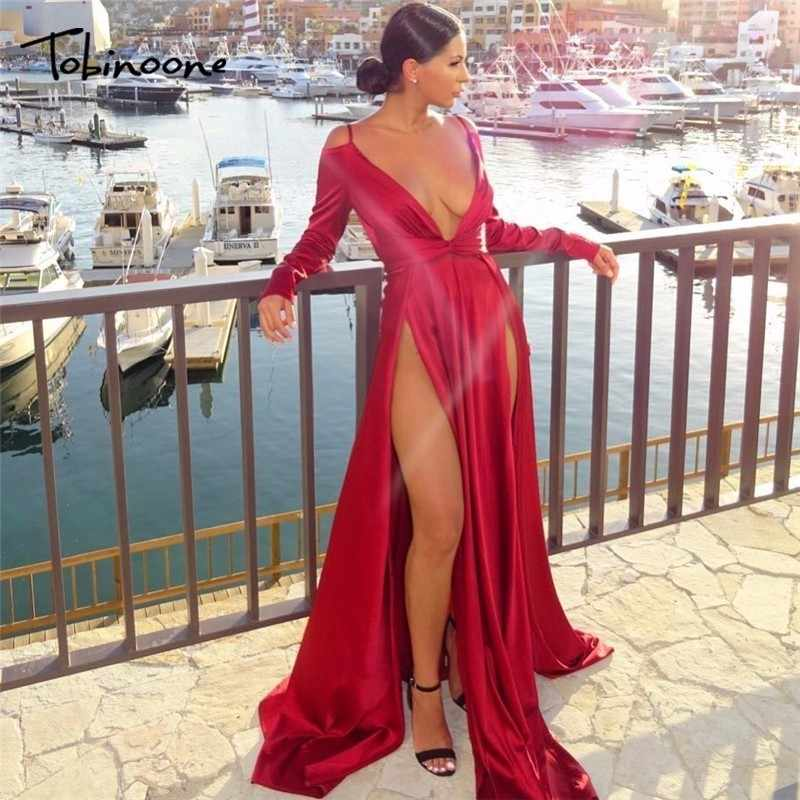 Tobinoone Split V-Neck Autumn Dress 2018 High Waist Backless Maxi Dress  Sexy Satin Women 98f63346c359