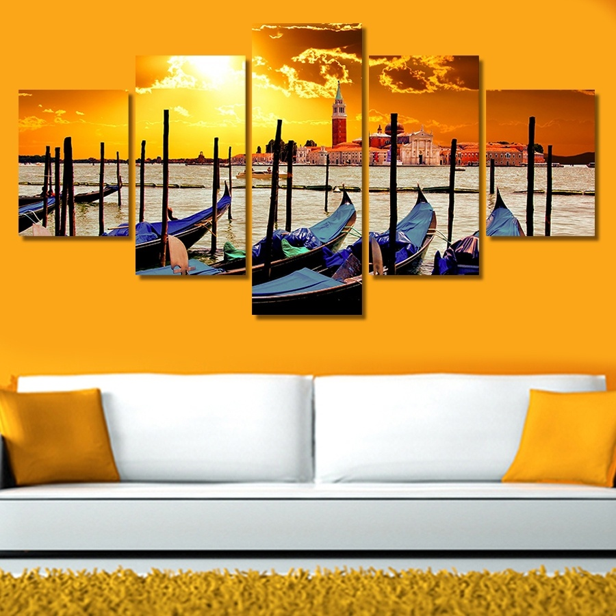 5 Pieces Frameless Canvas Photo Prints Sunset Fishing Boat By The ...