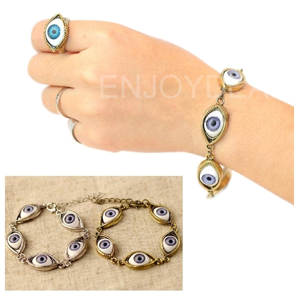 New Arrival New Ladies Retro Simple Alloy Angel Devil Eyes Shaped Cuff Bracelet Bangle