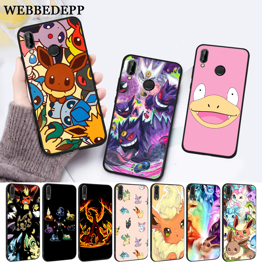 cartoon pokemons eevee pika Silicone Case for Huawei P8 Lite 2015 2017 P9 2016 Mimi P10 P20 Pro P Smart 2019 P30 image