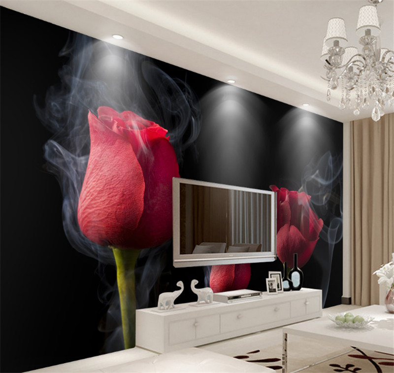 Custom moderne 3d photo vliesbehang romantische rook rode rose ...