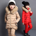 2017 Winter Children's Thickening Cotton Padded Clothes 3 Pcs Set For Cold Weather Girls Velvet Wadded Jacket + Tops + Pants