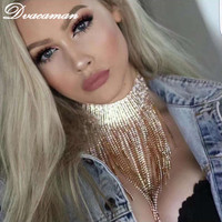 Dvacaman 2017 Hot Sale Fashion Crystal Pendant Necklace Party Club Statement Necklace Chokers Collar Custom Jewelry