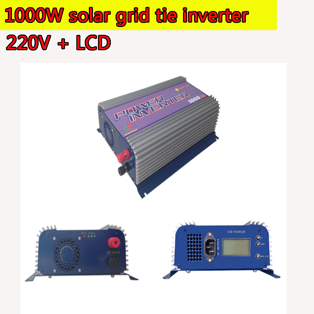 1000W Grid Tie Power Inverter LCD 220V Pure Sine Wave DC to AC Solar Power Inverter MPPT 22V to 60V or  45V to 90V Input MPPT 1kw solar grid tie inverter 12v dc to ac 230v pure sine wave power pv converter