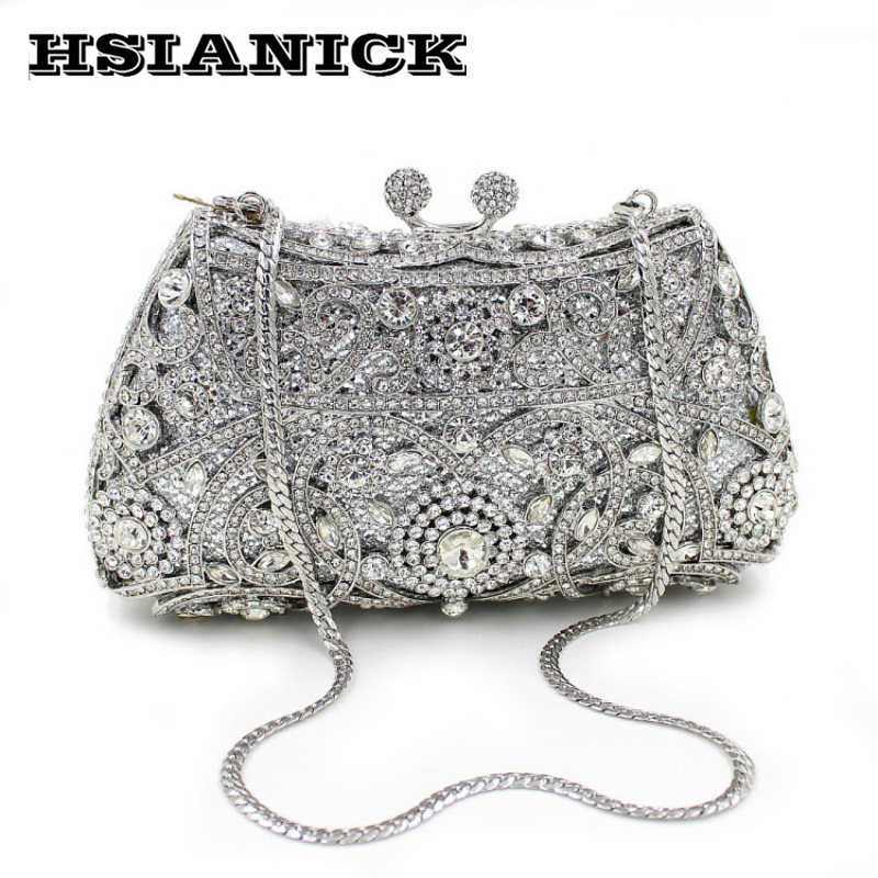 2017 Promotion Europe And America Hollow Brand Design Luxury High-grade Full Diamond Evening Bag Clutch Party Banquet Handbag europe new upscale butterfly diamond evening bag full diamond party handbag clutch