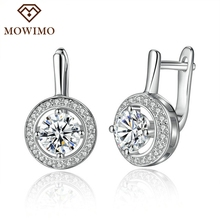 MOWIMO Shiny Silver Color Drop Earrings CZ Clear Jewelry Round 6mm Crystal Stone Earring Female Glitter Earing For Women ZBFE106