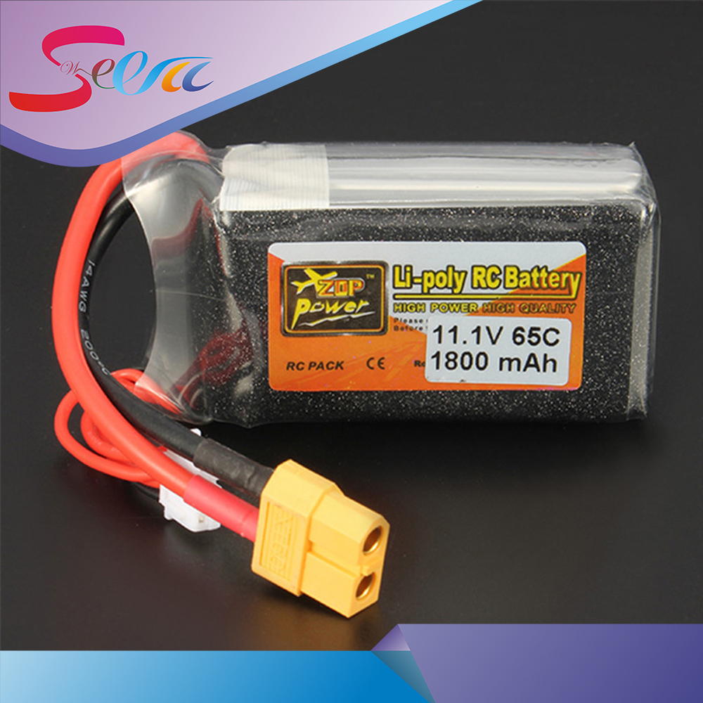 High Quality Rechargeable Lipo Battery ZOP Power 11.1V 1800mAh 65C 3S Lipo Battery XT60/T  Plug For RC Model high quality zop power 11 1v 1500mah 25c lipo battery t plug