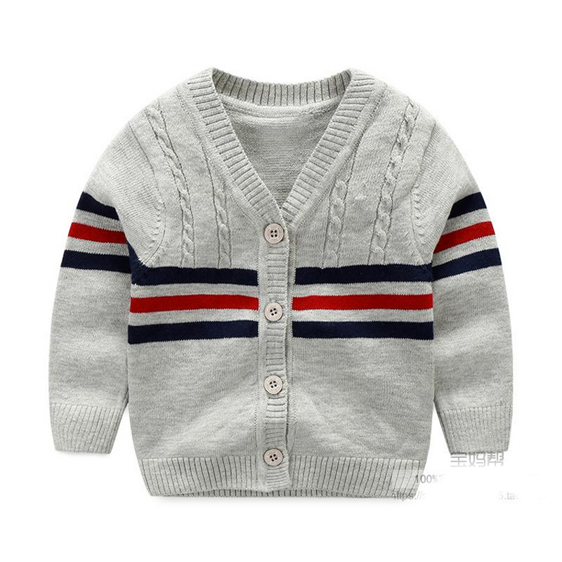 100% Cotton Baby Sweater Stripe V-neck Button Cardigan British Leisure Toddler Baby Boys Knitted Sweaters 2018 Spring Autumn high neck button embellished knitted sweater