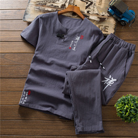 Embroidered Decorative Short sleeved tshirt and Ankle Length pants Chinese style Mens Two piece Set S 5XL