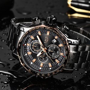 Image 4 - LIGE relojes de moda para hombre, reloj masculino de cuarzo analógico, con esfera grande militar, cronógrafo deportivo, 2020