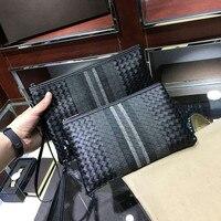 Kaisiludi hand bag man knitting hand bag leather soft leather leisure business man bag envelope large capacity bullskin hand gra